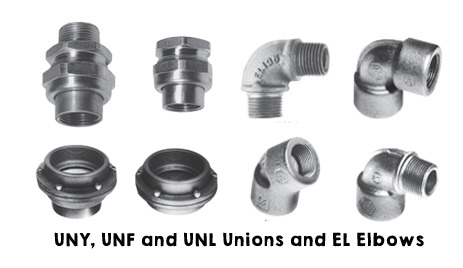 UNY, UNF and UNL Unions and EL Elbows